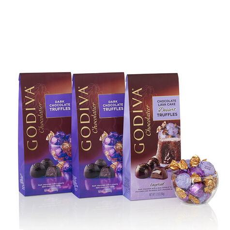 Assorted Dark Chocolate Truffles, Wrapped, Set of 3