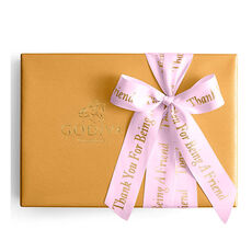 Assorted Chocolate Gold Gift Box, Personalized Pink Ribbon, 70 pc.