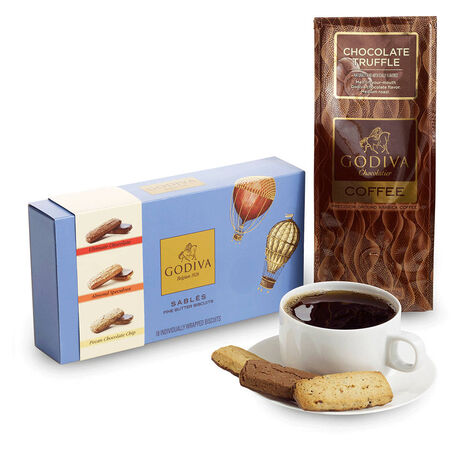 18 pc. Assorted Sablés Gift Box and Chocolate Truffle Coffee Gift Set
