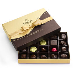 Dark Chocolate Gift Box, Gold Ribbon, 22 pc.