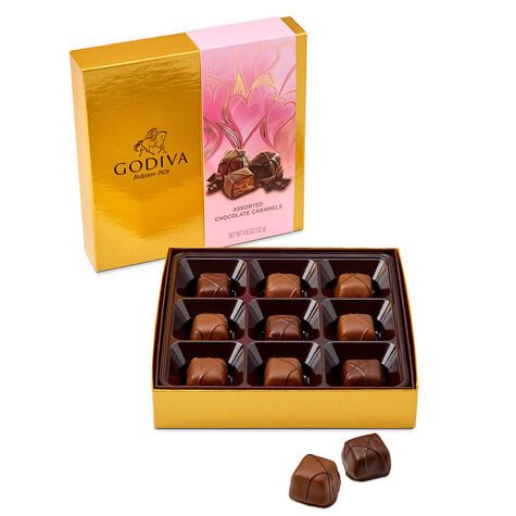 Valentine's Day Assorted Chocolate Caramel Gift Box, 9 pc.