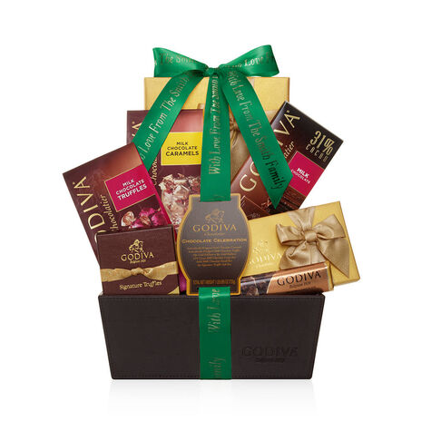 Chocolate Celebration Gift Basket, Personalized Forest Green Ribbon