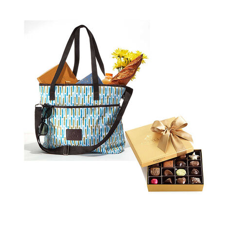 Godiva Insulated Cooler Bag with Assorted Chocolate Gold Gift Box, 19 pc