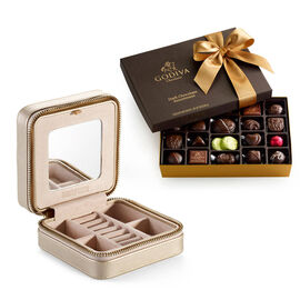 Leather Jewelry Case with Dark Chocolate Assortment Gift Box, 27 pcs