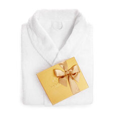 White Cotton Robe with Assorted Chocolate Gold Gift Box, 19 pc.