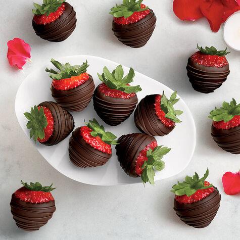 Dark Chocolate Covered Strawberries, Dozen