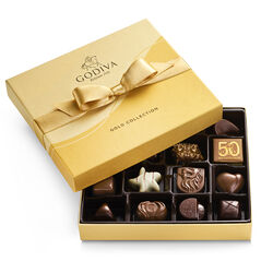 Assorted Chocolate Gold Gift Box, Gold Ribbon, 19 pc.
