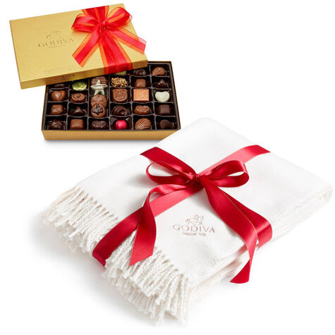 Godiva Throw with Valentine's Day Assorted Chocolate Gold Gift Box, 36 pc.