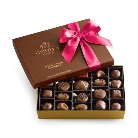 Assorted Milk Chocolate Box, Hot Pink Ribbon, 22 pc.