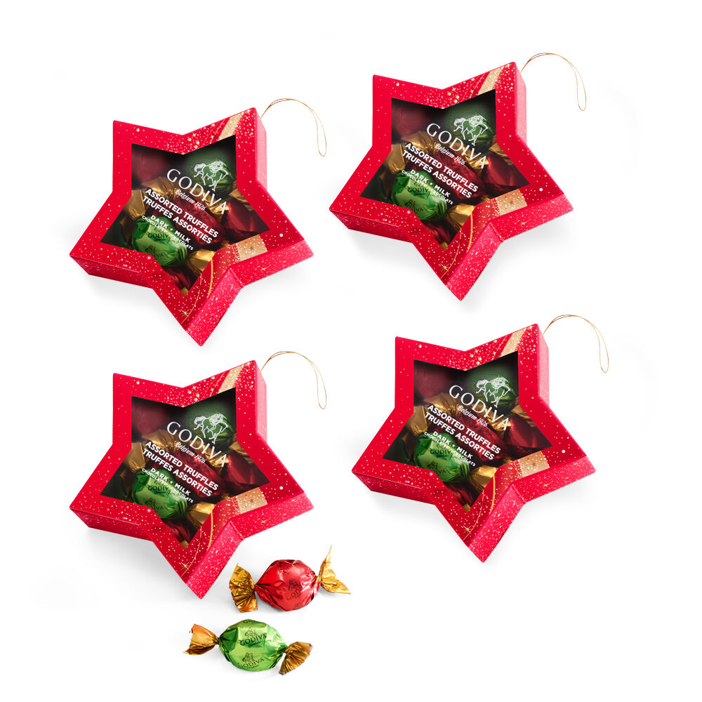 4-Pack Star Ornament with Wrapped Truffles (10 piece each)