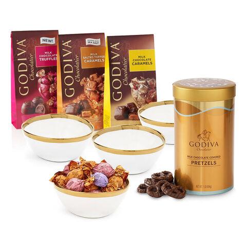 Gold Trim Bowls & Milk Chocolate Lovers Gift Set