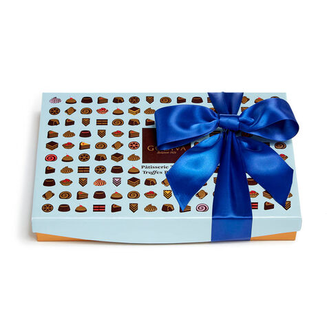 Patisserie Dessert Truffles Gift Box, Royal Blue Ribbon, 24 pc.