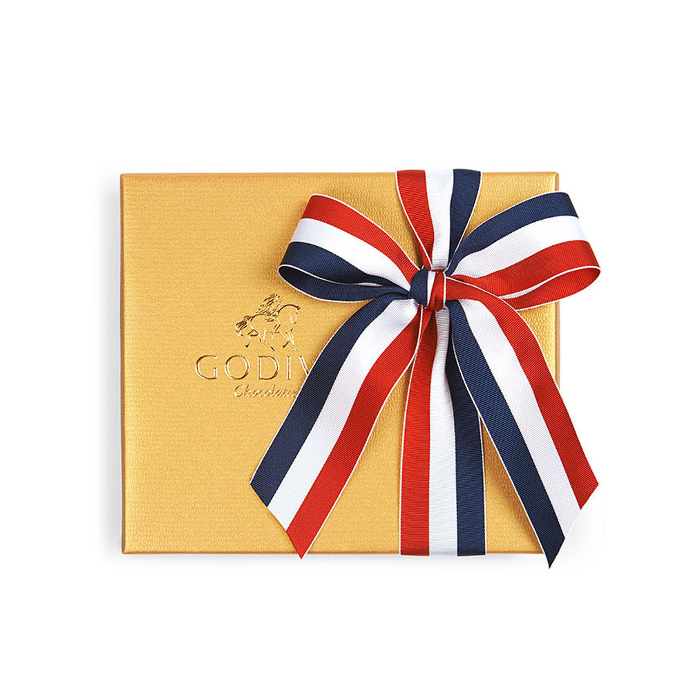 Assorted Chocolate Gold Gift Box, Patriotic Ribbon, 19 pc.