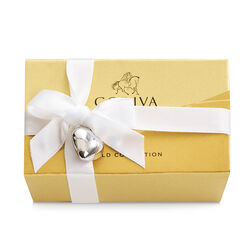 Assorted Chocolate Gold Favor, White Ribbon & Silver Heart Charm, 2 pc.