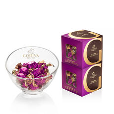 Godiva Chocolate Candy Bowl & Classic Dark Chocolate G Cube Box (Set of 2)