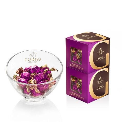 Godiva Chocolate Candy Bowl & Classic Dark Chocolate G Cube Box (Set of 2)
