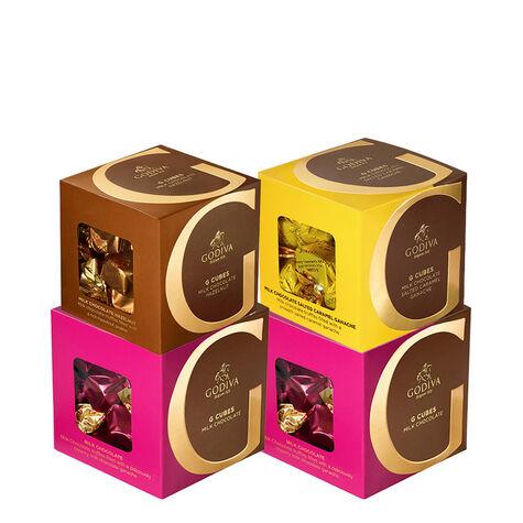 Milk Chocolate G Cube Sampler, Set of 4, 22 pcs. each