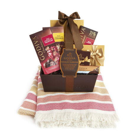 Godiva Throw with Chocolate Celebration Basket