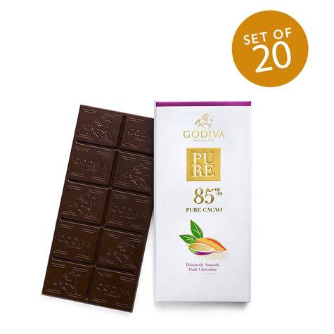 Pure 85% Distinctly Smooth Dark Chocolate Bar, Set of 20