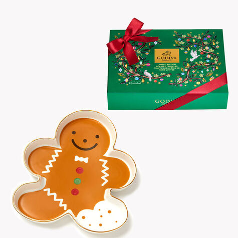 Gingerbread Tray with 12pc. Holiday Truffle Gift Box