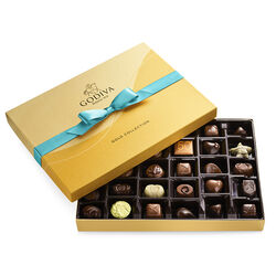 Assorted Chocolate Gold Gift Box, Blue Ribbon, 36 pc.