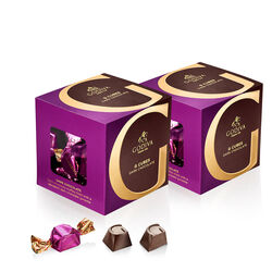 Classic Dark Chocolate G Cube Box, Set of 2, 22 pcs. each