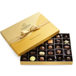 Assorted Chocolate Gold Gift Box, Gold Ribbon, 36 pc.