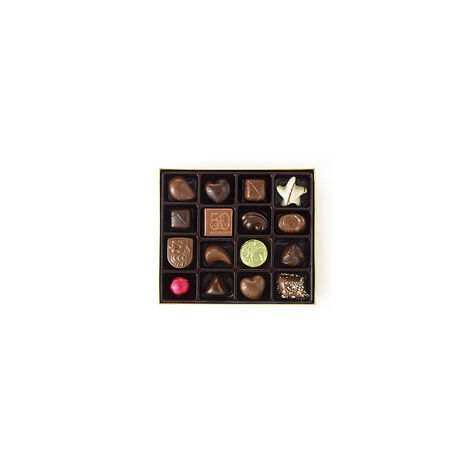 $25 Holiday Gift Card & Assorted Chocolate Gold Gift Box, Red Ribbon, 19 pc.