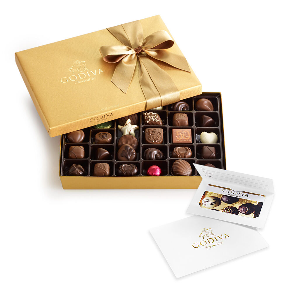 $50 Gift Card & Assorted Chocolate Gold Gift Box, 36 pc.