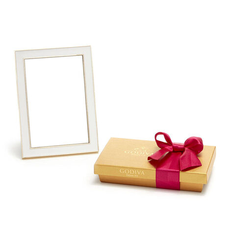White & Gold Enamel Picture Frame, 4x6 with Assorted Chocolate Gift Box, Summer Ribbon, 8 pc.