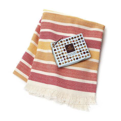 Godiva Cotton Throw Blanket with Patisserie Dessert Truffles, 12 pc.