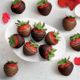Milk and Dark Chocolate Dipped Strawberries, One Dozen