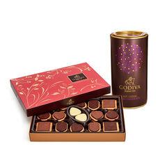 Dark Chocolate Hot Cocoa Tin & Chocolate Biscuit Gift Box, 32 pc.