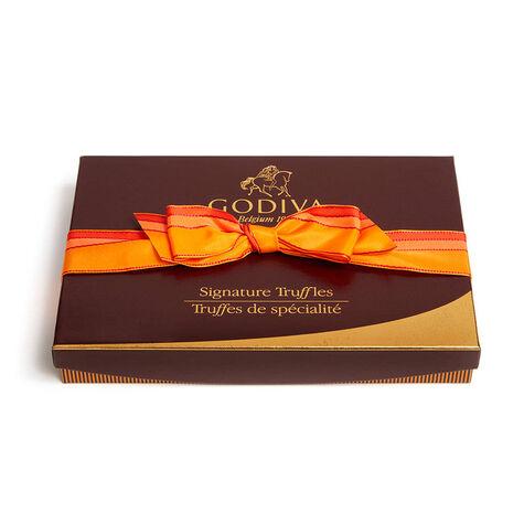 Signature Truffle Gift Box, Orange Stripe Ribbon, 24 pc.