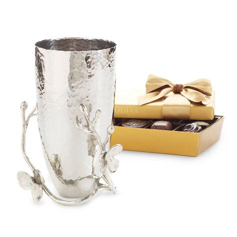 Gold Ballotin & Michael Aram White Orchid Small Vase