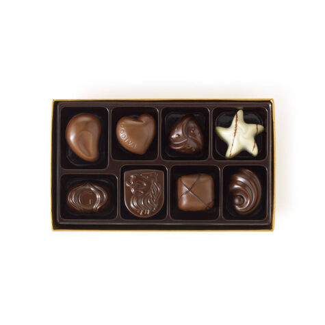 Assorted Chocolate Gold Gift Box, Royal Blue Ribbon, 8 pc.
