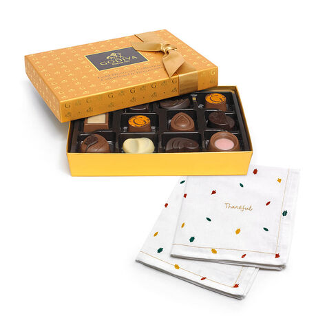 Gold Discovery Chocolate Gift Box, 12 pc with Thankful Linen Napkins, 2 pc
