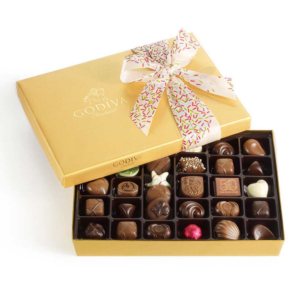 Assorted Chocolate Gold Gift Box, Celebration Ribbon, 36 pc.