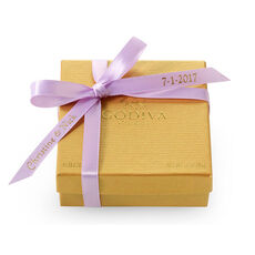 Assorted Chocolate Gold Favor, Personalized Light Orchid Ribbon, 4 pc.