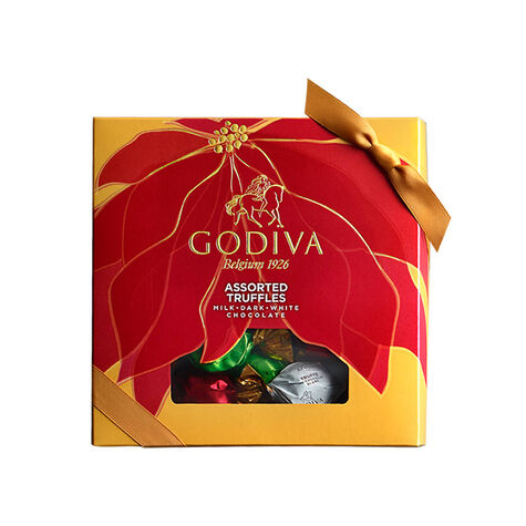 15 pcs. Wrapped Assorted Chocolate Truffles - Poinsettia Box