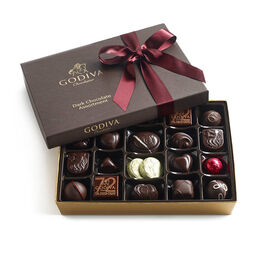 Assorted Dark Chocolate Gift Box, Wine Ribbon, 27 pc.