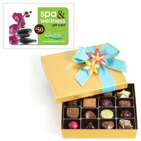19 pc. Spring Ballotin and $50 Spa & Wellness Gift Card by Spa Week®