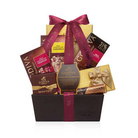 Chocolate Celebration Gift Basket, Personalized Wine Ribbon