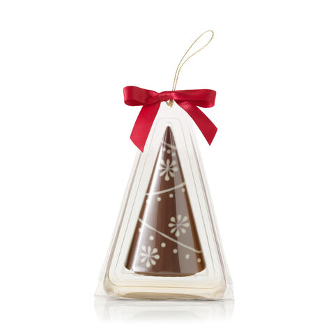 Milk Chocolate Christmas Tree Ornament with Snowflake Design