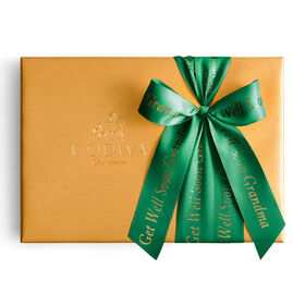 Assorted Chocolate Gold Gift Box, Personalized Forest Green Ribbon, 36 pc.