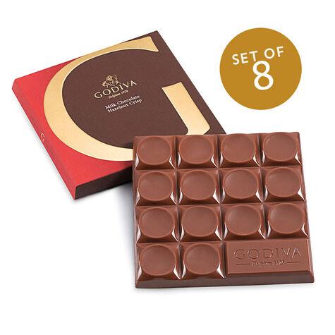 G by Godiva Milk Chocolate Hazelnut Crisp Bar, 42% Cocoa, Set of 8, 2.7 oz. each
