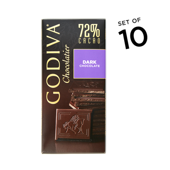 Large 72% Dark Chocolate Bar, Set of 10 image number null