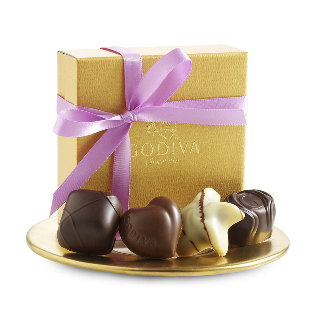 Assorted Chocolate Gold Favor, Lavender Ribbon, 4 pc.
