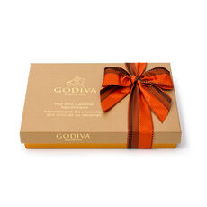 Nut & Caramel Assortment Gift Box, Orange & Brown Ribbon, 19 pc.