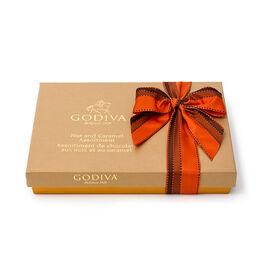 Nut & Caramel Assortment Gift Box, Orange & Brown Ribbon, 19 pc.